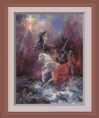 Red, white, black, and pale horses from heaven in Revelation 6 painted in this fantastic Biblical print, The Four Horsemen, by Marilyn Todd-Daniels.