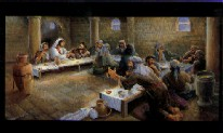 The Betrayal as painted by Marilyn Todd-Daniels, depicts one of the most memorable scenes in the Bible, The Last Supper. Miniature mailer great for all occasions and holiday mailings.
