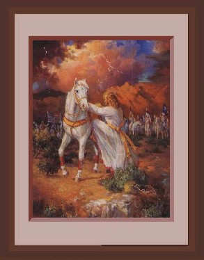 stunning prophecy painting of Jesus mounting white horse to return to earth