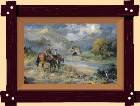 The circuit riders, preachers of yesteryear, come to life in The Call, Christian art painted by Marilyn Todd-Daniels.