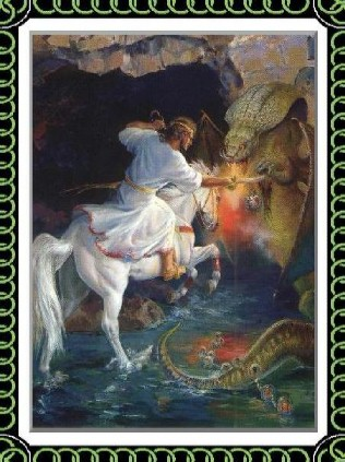 The Victory by Marilyn Todd-Daniels, renowned Christian equine artist, shows Jesus on a white horse victorious over Satan, the dragon, as told by the Bible.